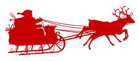 Santa Claus with Reindeer Sleigh - Red Silhouette - Outline Shape of Sledge, Sled - Holiday Season Symbol - Christmas, XMas, X-Mas. Illustration