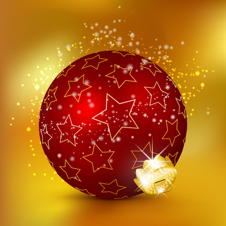 starlet: Single Beautiful Red Christmas Ball with Starlet Texture and Sparkle Particle Effect. Holiday Season XMas Design - X-Mas with Glittering and Twinkling Lights.