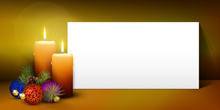 advent candles: Two Candles - White Panorama Paper Panel on Warm Colored Background - Advent, Christmas Greeting Card Template - Free Space for Wishes. Second Advent Candle - Christmas Season - Website Head Banner.
