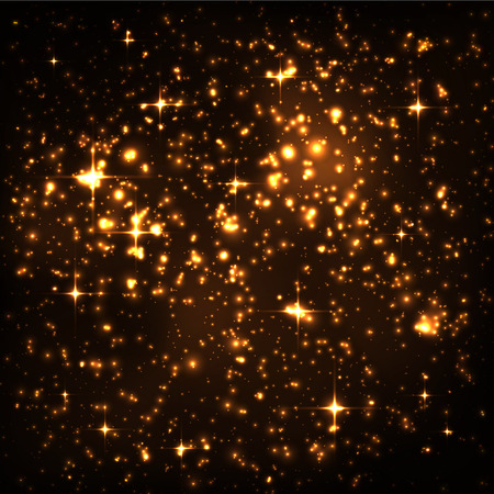 sky night: Abstract Night Sky with Golden Star Cluster and Glowing Particles Background. Glistening Starlight Effect. Fantasy Galaxy Particle Design Template for Artists. Wallpaper or backdrop Vector Image.