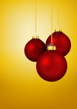 greeting season: Three Red Christmas Balls hanging in front of Yellow Gold Background - Holiday Season, Greeting Card Template. Xmas, X-Mas
