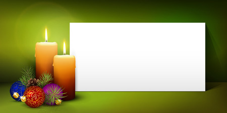 christmas candle: Two Candles with White Panorama Paper Panel and Green Background - Advent, Christmas Greeting Card Template - Free Space for Wishes. Second Advent Candle for Christmas Season - Website Head Banner.