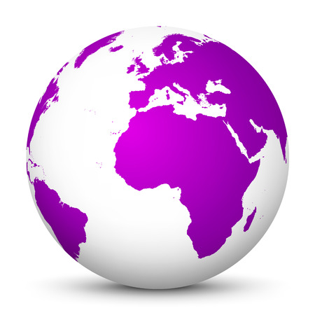 White Vector Globe Icon with Purple Continents - Planet Earth - World Symbol on White Background with Shadow Smooth. Vettoriali
