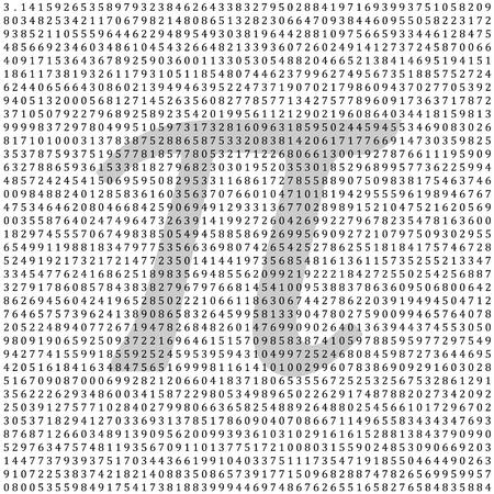 endlos: Pi - 3.1415 - Mathematische Spalte von Zahlen Vektor-Hintergrund - Hintergrund mit griechischen Pi Buchstabenform - Vektor-Illustration