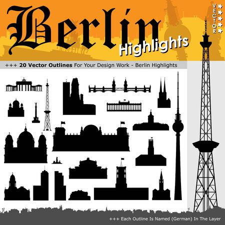 urbane: 20 Berlin Highlights - Building Outline Set - Black Silhouettes with Real Size Proportion - Vector Illustration