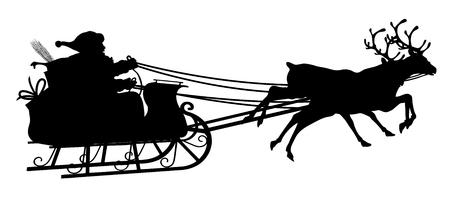Santa with Reindeer Sled - Black Silhouette - Outline Shape of Claus Sledge, Sled - Holiday Season Symbol - Christmas, XMas, X-Mas.