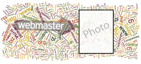 Vector Word Cloud with Internet Webmaster Keywords Background - Tag Cloud  Backdrop Illustration