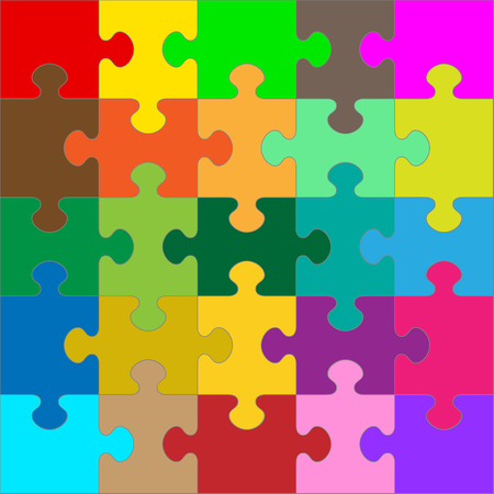 Different Colored 25 Puzzle Pieces Arranged in a Square - JigSaw - Vector Illustration