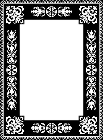 text room: Vintage Vector Book Cover Frame with Flourish Design Elements and Free Space for Text or Graphics - Black and White Vertical Ornament Framework Illustration
