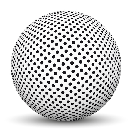 smooth shadow: White 3D Sphere with Dotted Texture on White Background and Smooth Shadow Illustration