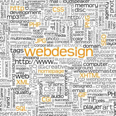 sql: Webdesign Keyword Tag Cloud with Many Specific Web Design Words - Word Cloud - Vector Background - SEO, HTML, PHP, CSS, JPG, SQL