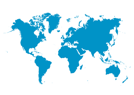 globally: World Map Vector with Fresh Blue Continents on White Background - Planet Earth.