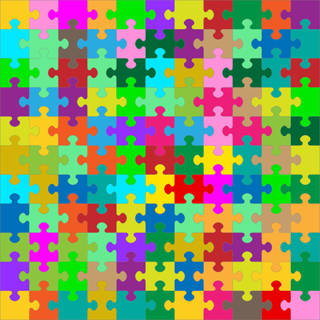 jigsaw: Different Colored 121 Puzzle Pieces Arranged in a Square - jigsaw - Vector Illustration