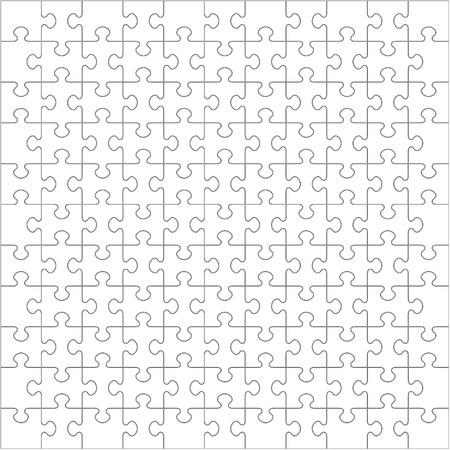 121 Weiß Puzzle-Teile, die in einer Square - Puzzle - Vektor-Illustration