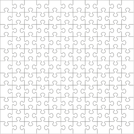 121 White Puzzle Pieces Arranged in a Square - jigsaw - Vector Illustration