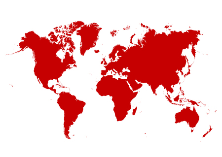 Map of The World with Red Continents and White Background - Vector Illustration