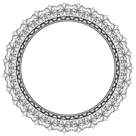 engrave: Decorative Vector Round Frame Template with Empty Space for Certificate, Report or other Documents Illustration