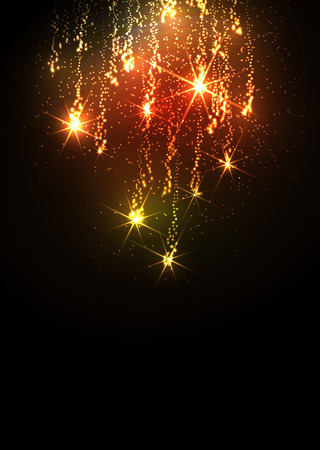 new years background: Abstract Golden Meteor Shower - Firework Falling Stars Trail - Dark Background. Flyer or Design Template for New Years Eve or Christmas Season Greetings and Invitation Cards. Colorful Glittering.
