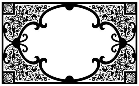 vintage frame vector: Vintage Vector Book Cover Frame with Flourish Design Elements and Free Space for Text or Graphics - Black and White Horizontal Ornament Framework Illustration