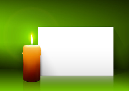 free christmas background: Single Candle with White Paper Panel on Green Background - Advent, Christmas Greeting Card Template with Free Space for Wishes. First Candle for Christmas Season. Illustration