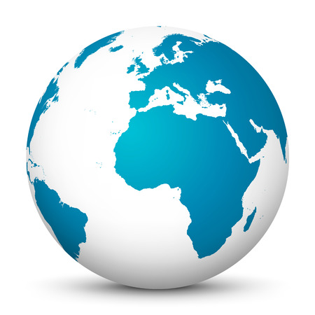 globally: White Globe with Blue Continents and smooth Shadow on White Background - Planet Earth Illustration