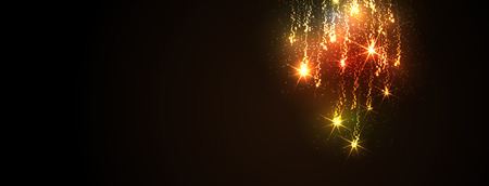 Abstract Golden Meteor Shower Panorama - Firework Falling Stars Trail - Dark Background Banner. Website Head Template - New Years Eve or Christmas Season Cards - Colorful, Twinkling and Glittering.