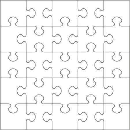 25 White Puzzle Pieces Arranged in a Square - jigsaw - Vector Illustration Иллюстрация