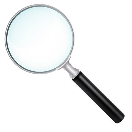 Magnifying Glass With Transparent Glass Effect- Isolated on White Background Without Shadow