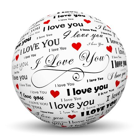 mapped: White 3D Sphere with Mapped I Love You Texture on White Background and Smooth Shadow