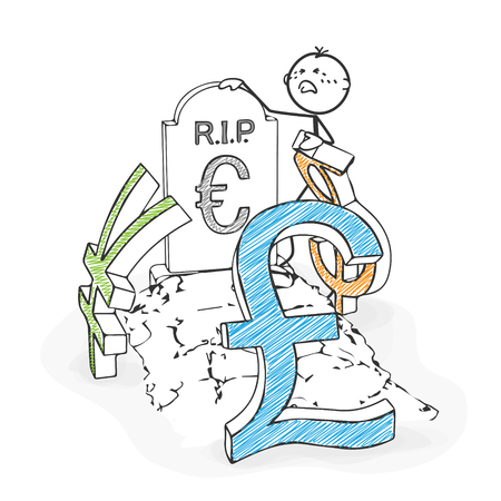 mourn: Stick Figure in Action - Stickman Mourns the Euro, Together with Dollar, Yen, Pound Icon. Stick Man Vector Drawing with White Background and Transparent, Abstract Three Colored Shadow on the Ground.