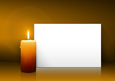 Single Candle with White Paper Panel on Light Brown Background - Advent, Christmas Greeting Card Template with Free Space for Wishes. First Candle for Christmas Season.