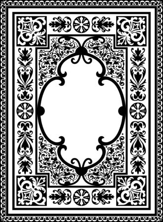 Vintage Vector Book Cover Frame with Flourish Design Elements and Free Space for Text or Graphics - Black and White Vertical Ornament Framework Banque d'images