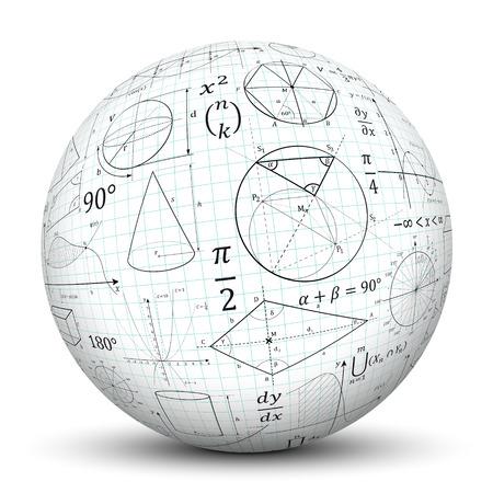 3D weiße Kugel mit glatten Schatten und Millimeterpapier Textur und mathematische Symbole - isoliert auf weißem Hintergrund Standard-Bild
