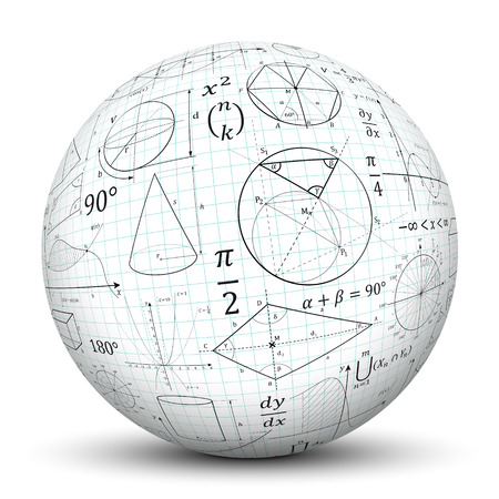mathematics: 3D White Sphere with Smooth Shadow and Graph Paper Texture and Math Symbols - Isolated on White Background
