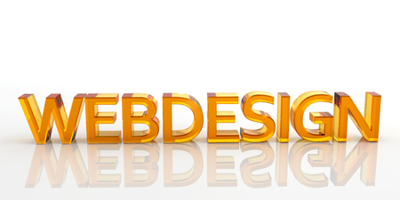 webdesign: 3D Orange Colored Webdesign Word Made of Glass with Reflection on the Ground and White Background - Rendered Illustration