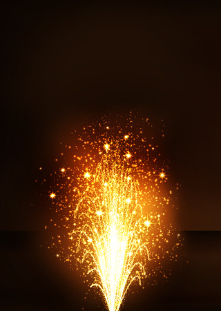 abstract fire: Golden Fountain - Firework Volcano Emitting Sparks. Vertical Greeting Card Template with Dark Brown Background - New Years Eve Celebration. Little Fireworks, Pyro, Glistening, Particle Effect. Stock Photo