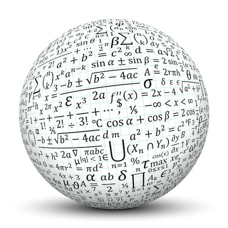 metodo cientifico: 3D Esfera blanca con sombra suave y la textura del papel de gráfico y Matemáticas Símbolos - aisladas sobre fondo blanco