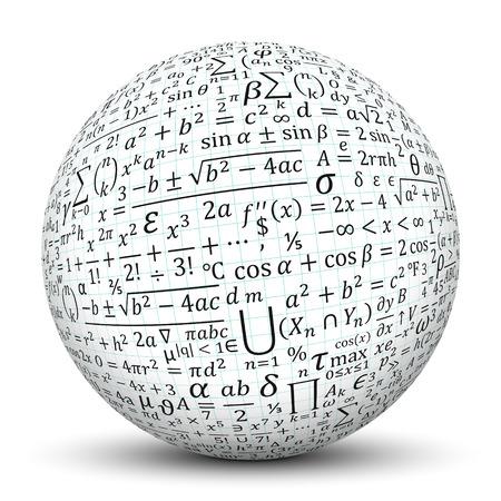 White 3D Sphere met Smooth Shadow en grafiek papier textuur en Math symbolen - geïsoleerd op witte achtergrond Stockfoto - 46476223