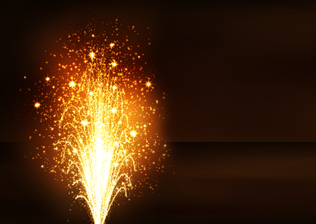 Golden Fountain - Firework Volcano Emitting Sparks. Flyer Template with Dark Brown Background - New Years Eve Celebration. Little Fireworks, Pyro, Glistening, Particle Effect.