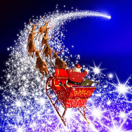 Père Noël avec renne traîneau volant sur une Falling Star. Résumé Saison de vacances Design Noël avec Red fond dégradé. Shooting Star, Meteor, Comet - X-Mas, Carte de voeux de Noël. Banque d'images - 46476229