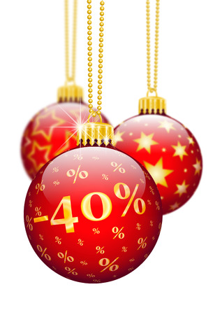 price reduction: Forty Percent, 40%, Price Reduction Red Christmas Baubles - Christmas Offers, Seasonal Discount and Advertising for Online Shops. Christmas Ball for Christmas Time. Ornaments and Decorations for X-MAS.