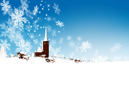greeting season: Beautiful Snowy Mountain Village with Azure Blue Sky and Abstract Filigree Falling Snowflakes - Winter, Christmas Season and Greeting Card Template.