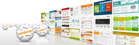 domains: 3D Website Banner with Spheres and Web Design Templates and Abbreviation for Your Own  Text