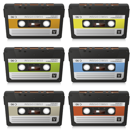 analogous: Old Vintage Vector Audio Cassettes Set - Colored Retro Compact Cassettes - Front View Collection Stock Photo