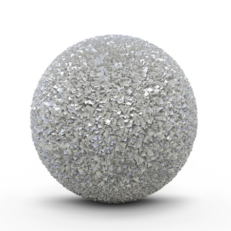 iron ore: Abstract Metallic Platinum Sphere with Cubic Crystals on White Background and Smooth Shadow - 3D Rendering