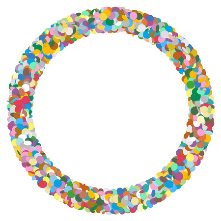 text free space: Colourful Round Abstract Frame with Free Text Area - Formed of Confetti - Dots, Polka Dots, Points - Party Template with Empty Space for Advertising and Text