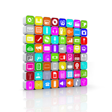 multimedia background: Stacked and Colored 64 3D Multimedia Icons with Aluminum Frame and Reflection on the Ground. Background.