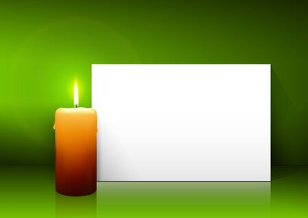 free christmas background: Single Candle with White Paper Panel on Green Background - Advent, Christmas Greeting Card Template with Free Space for Wishes. First Candle for Christmas Season. Stock Photo
