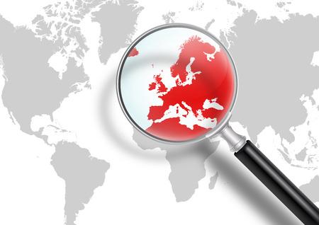crisis economica: Mapa del mundo con lupa - Europa en Foco - Europa en Crisis Financiera y Econ�mica Foto de archivo