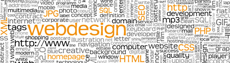 Webdesign Keyword Tag Cloud Panorama with Many Specific Web Design Words - Word Cloud - Vector Background Banner - SEO, HTML, PHP, CSS, JPG, SQL Banque d'images